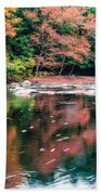 Amazing Fall Foliage Along A River In New England Beach Towel