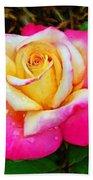 Amazing Red Yellow Rose Beach Towel