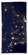 America At Night Beach Towel by Adam Romanowicz