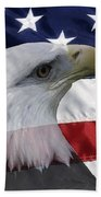 American Flag And Bald Eagle Beach Towel by Jill Lang