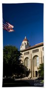 American Flag And Hoover Tower Stanford University Beach Towel