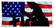 A Time To Remember American Flag At Rest Beach Towel