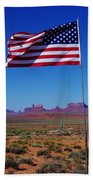 American Flag In Monument Valley Beach Towel