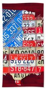 American Flag Map Of The United States In Vintage License Plates Beach Towel