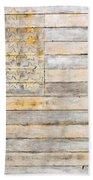 American Flag On Distressed Wood Beams White Yellow Gray And Brown Flag Beach Towel
