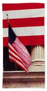American Flag On The Front Beach Towel