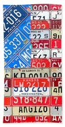 American Flag Recycled License Plate Art Beach Sheet