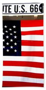 American Flag Route 66 Beach Towel