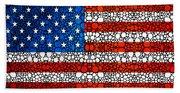 American Flag - Usa Stone Rock'd Art United States Of America Beach Towel