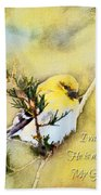 American Goldfinch On A Cedar Twig With Digital Paint And Verse Beach Towel