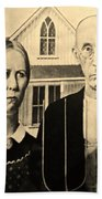 American Gothic In Sepia Beach Towel