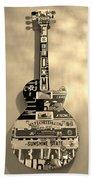 American Guitar In Sepia Beach Towel