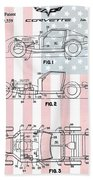 American Made Corvette Patent Beach Towel