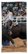 American Rodeo Female Barrel Racer Dark Horse I Beach Towel by Sally Rockefeller