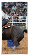 American Rodeo Female Barrel Racer Dark Horse II Beach Towel
