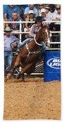American Rodeo Female Barrel Racer White Blaze Chestnut Horse Iv Beach Towel by Sally Rockefeller