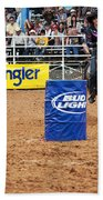 American Rodeo Female Barrel Racer White Star Horse I Beach Towel by Sally Rockefeller