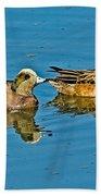 American Wigeon Pair Swimming Beach Towel