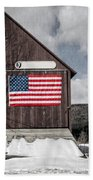 Americana Patriotic Barn Beach Sheet