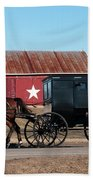 Amish Buggy And Star Barn Beach Towel
