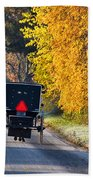 Amish Buggy And Yellow Leaves Beach Towel