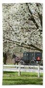 Amish Buggy Fowering Tree Beach Towel