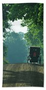 Amish  Buggy Gravel Road Beach Towel