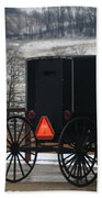 Amish Buggy In Winter Beach Towel