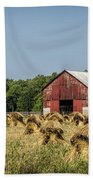 Amish Country Wheat Stacks And Barn Beach Towel