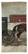 Amish Horse And Buggy And The Star Barn Beach Towel