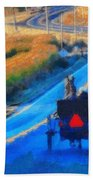 Amish Horse And Buggy In Autumn Beach Towel