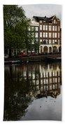 Amsterdam Canal Houses In The Rain Beach Towel