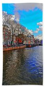 Amsterdam Canal In Spring Beach Towel