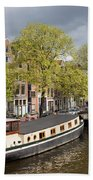 Amsterdam Canal Waterfront Beach Towel