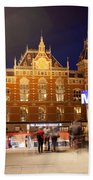 Amsterdam Central Station And Metro Entrance Beach Towel