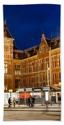 Amsterdam Central Station And Tram Stop At Night Beach Towel
