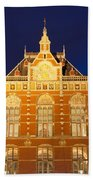 Amsterdam Central Train Station At Night Beach Towel