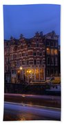 Amsterdam Corner Cafe With Light Trails Beach Towel