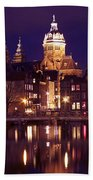 Amsterdam In The Netherlands By Night Beach Towel