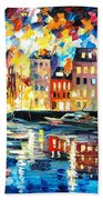 Amsterdam's Harbor - Palette Knife Oil Painting On Canvas By Leonid Afremov Beach Towel