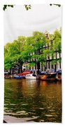Amsterdams Westerkerk From The Canal  Beach Towel
