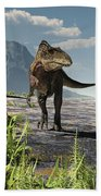 An Acrocanthosaurus Roams An Early Beach Towel by Arthur Dorety