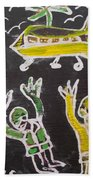 An Aeroplane Moving In The Sky Beach Towel