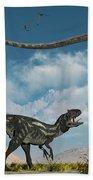 An Allosaurus In A Deadly Battle Beach Towel