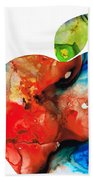An Apple A Day - Colorful Fruit Art By Sharon Cummings  Beach Towel by Sharon Cummings