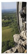 An Army Crew Chief Looks Out The Door Beach Towel