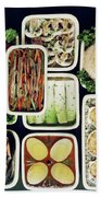 An Assortment Of Food In Containers Beach Sheet