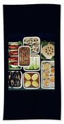 An Assortment Of Food In Containers Beach Towel