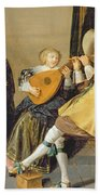 An Elegant Company Playing Music In An Beach Towel by Dirck Hals