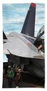 An Fa-18f Super Hornet Sits Beach Towel by Stocktrek Images